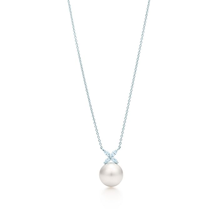 07f93cff0 Tiffany Victoria® pendant in platinum with a South Sea pearl and ...