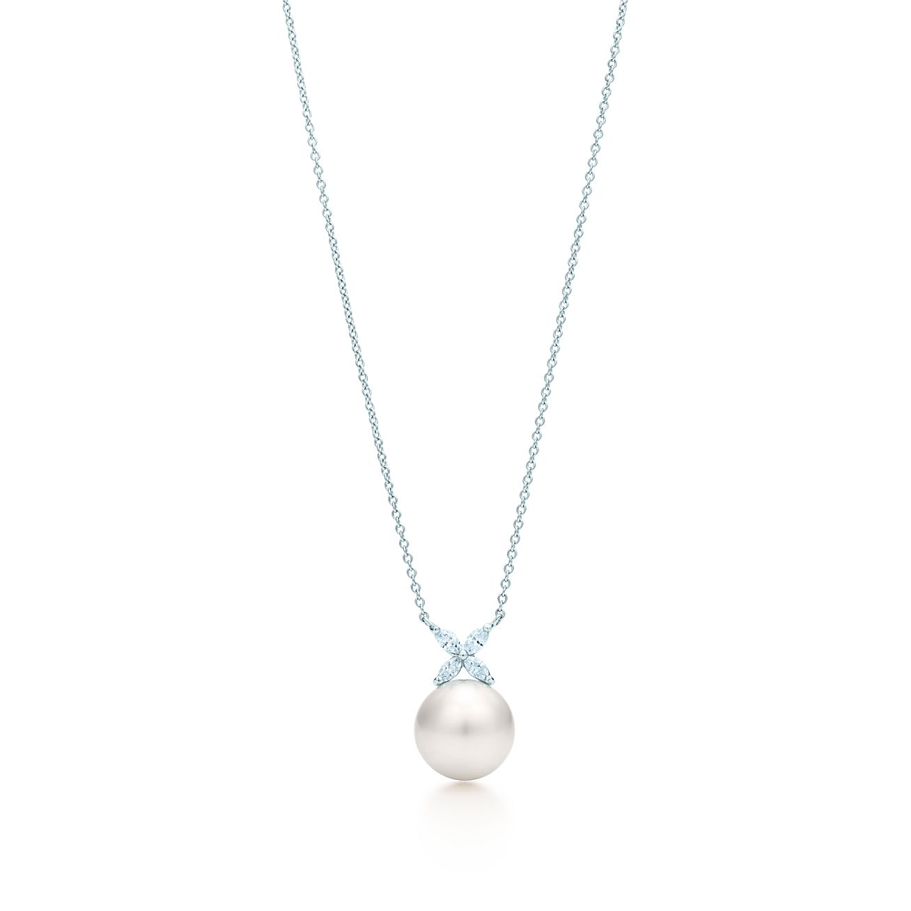 Tiffany victoria pendant in platinum with a south sea pearl and tiffany victoriapearl and diamondbrpendant aloadofball Images