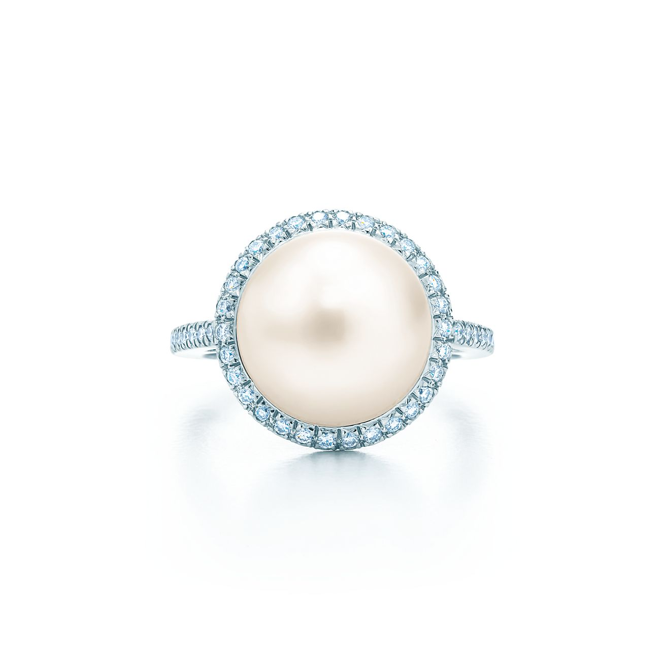 pearl diamond and rings ring halo hand engagement pearls custom white