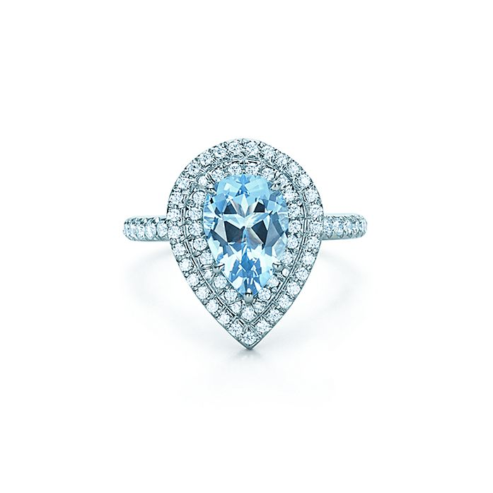 216a29700 Tiffany Soleste ring in platinum with an aquamarine and diamonds ...