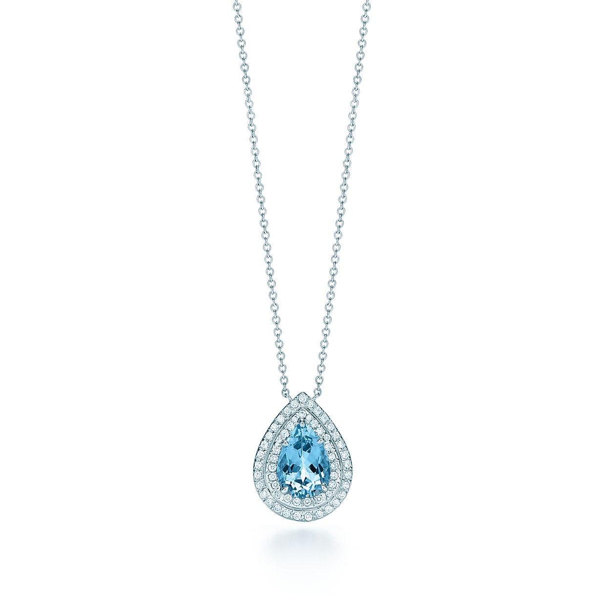 Tiffany soleste pendant in platinum with an aquamarine and diamonds tiffany solesteaquamarine and diamond pendant aloadofball Images