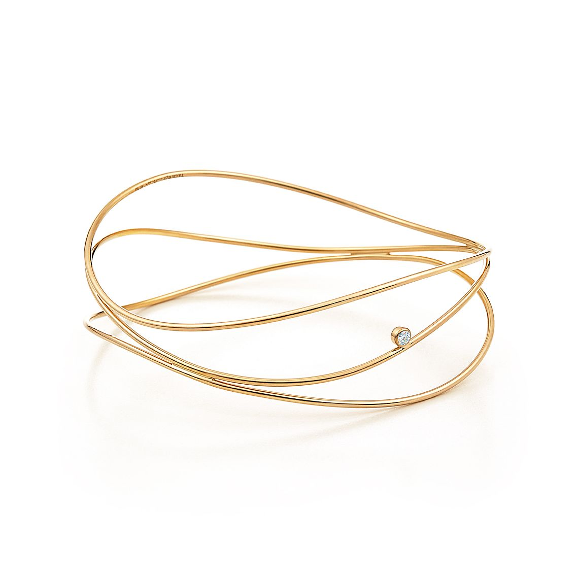 Wave Three Row Diamond Bangle by Elsa Peretti®