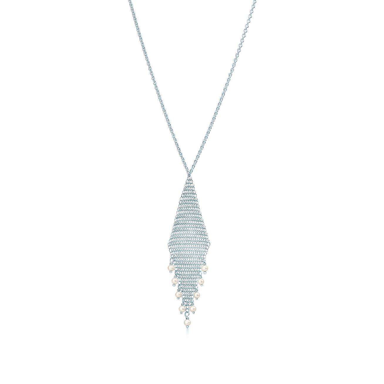 Elsa Peretti Mesh tassel earrings in sterling silver with freshwater pearls Tiffany & Co.