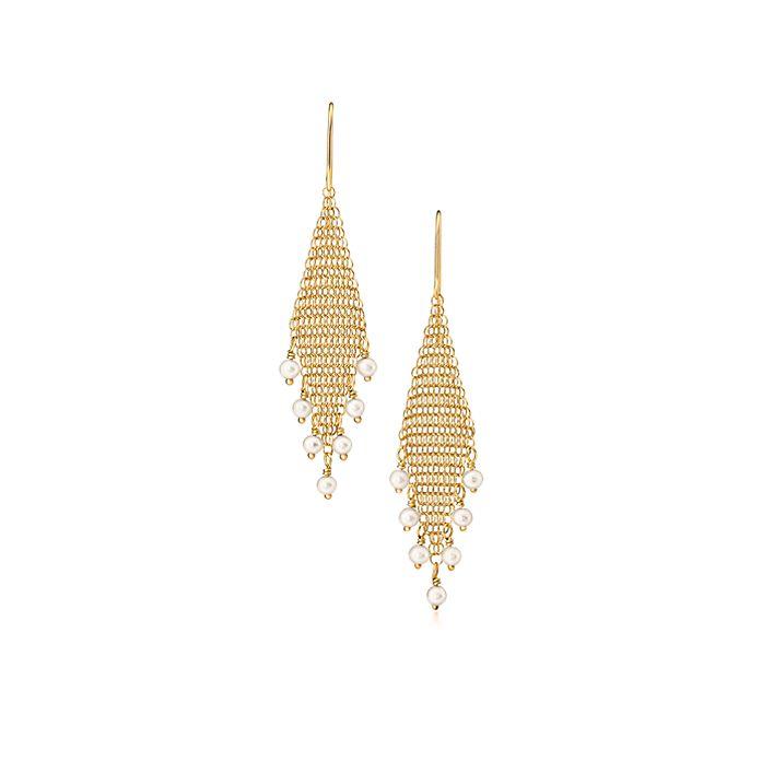 364052f72f604 Elsa Peretti® Mesh fringe earrings in 18k gold with freshwater ...
