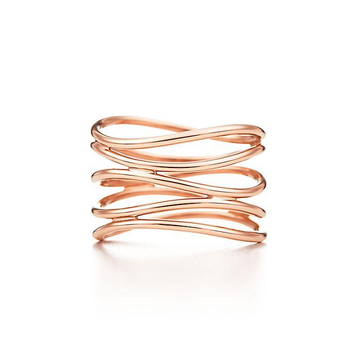 da74051bf Elsa Peretti® Wave five-row ring in 18k rose gold. | Tiffany & Co.