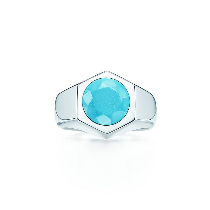 cd1c2407a Elsa Peretti® Esagono ring in sterling silver with turquoise ...