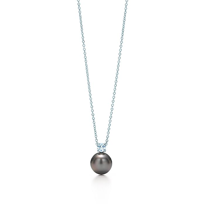 e3d5e3d4d Pendant in 18k white gold with Tahitian pearls and diamonds ...