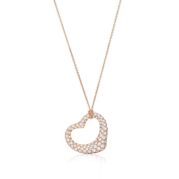 88a3df695 Elsa Peretti® Open Heart pendant in 18k rose gold with diamonds ...