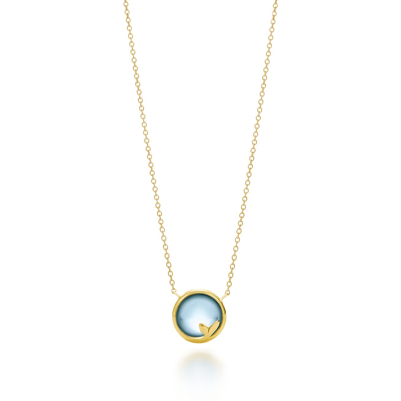 Paloma Picasso Olive Leaf pendant in 18k gold with a blue topaz - Size Tiffany & Co.