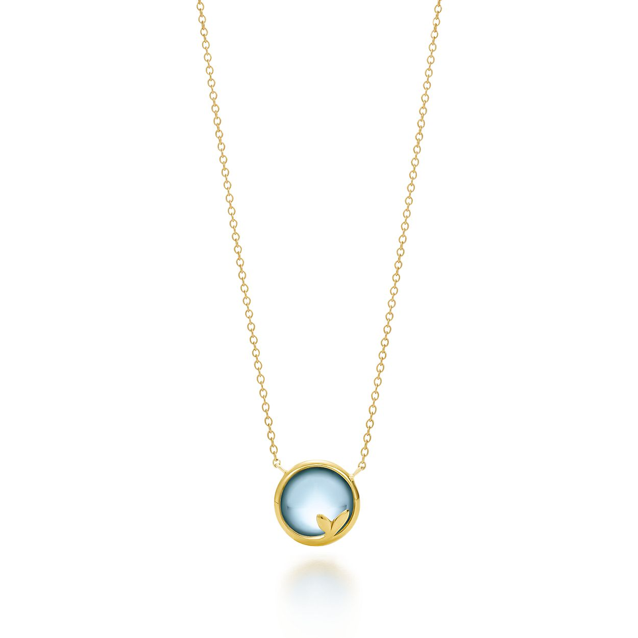 Paloma Picasso Olive Leaf pendant in 18k gold with a blue topaz - Size Tiffany & Co. 2uBghNNSYd