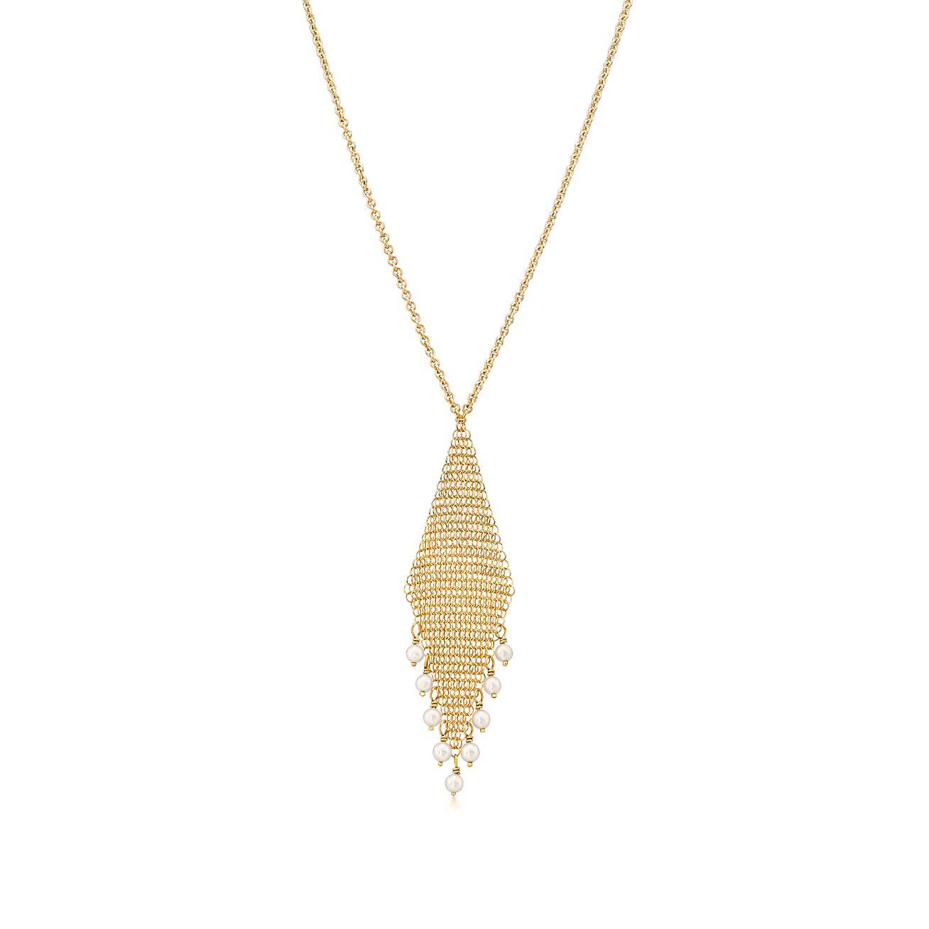 Elsa Peretti Mesh fringe earrings in 18k gold with freshwater pearls Tiffany & Co.