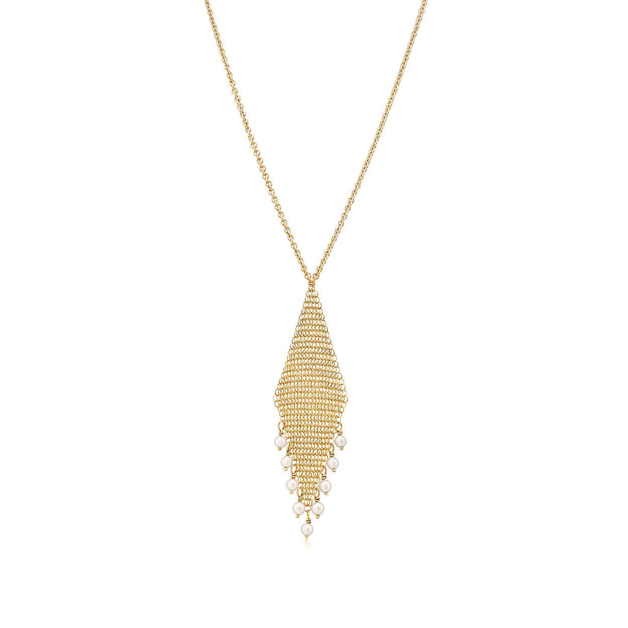 Elsa Peretti Mesh fringe earrings in 18k gold with freshwater pearls Tiffany & Co. ZzfkiBm