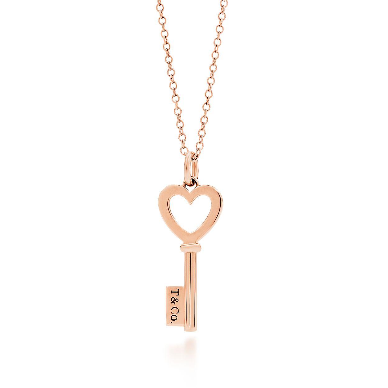 Tiffany keys heart key pendant in 18k rose gold mini tiffany co tiffany keysheart key pendant mozeypictures Images