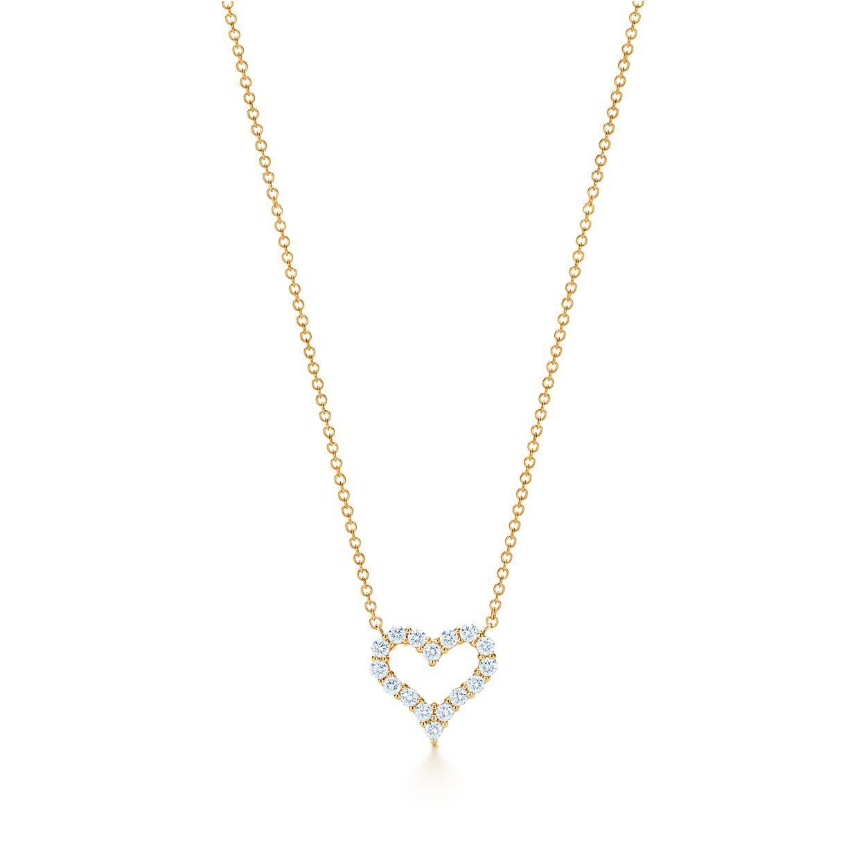 Pendant in 18k rose gold with diamonds mini tiffany co diamond heart pendant diamond heart pendant aloadofball Choice Image
