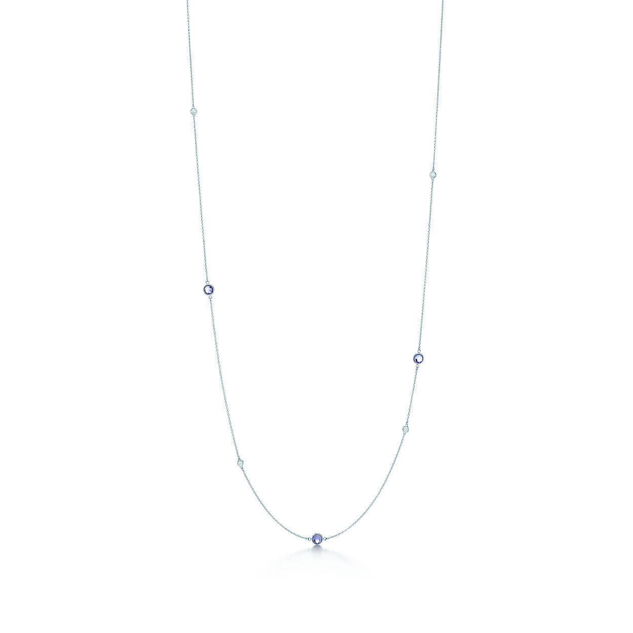 Elsa Peretti Color by the Yard necklace in silver with tanzanite and diamonds Tiffany & Co. bETsDXmW7l