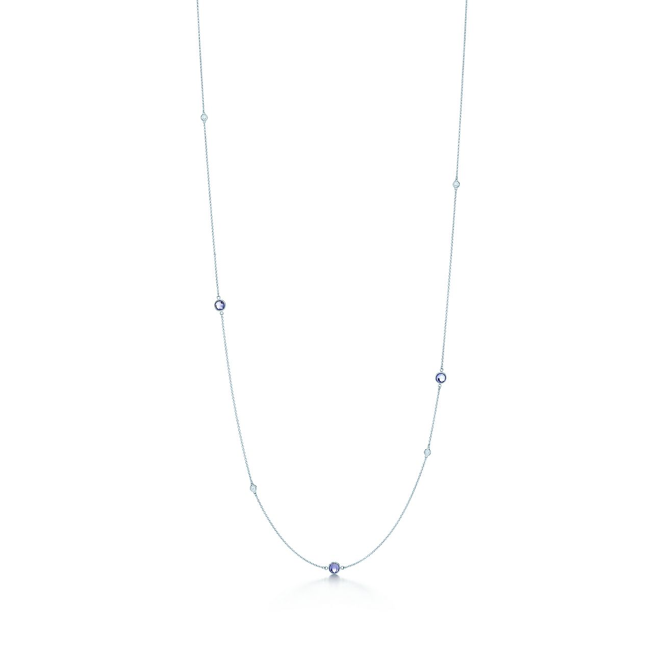 Elsa Peretti Color by the Yard necklace in silver with tanzanite and diamonds Tiffany & Co. qNY7t