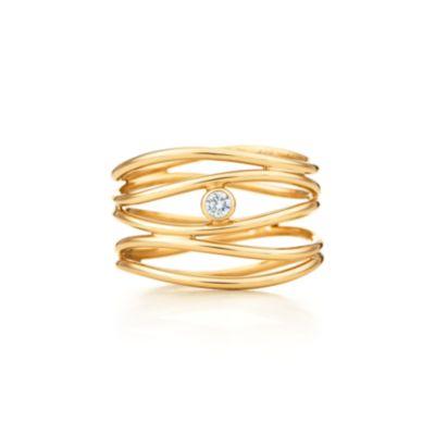 Elsa Peretti Wave fiverow diamond ring in 18k gold Tiffany Co