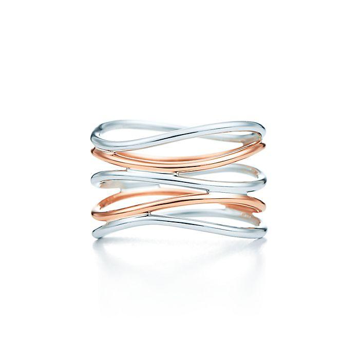 936c7e7da Elsa Peretti® Wave five-row ring in sterling silver and 18k rose ...