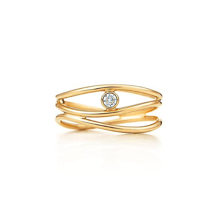 66f961554 Elsa Peretti® Wave three-row diamond ring in 18k gold. | Tiffany & Co.