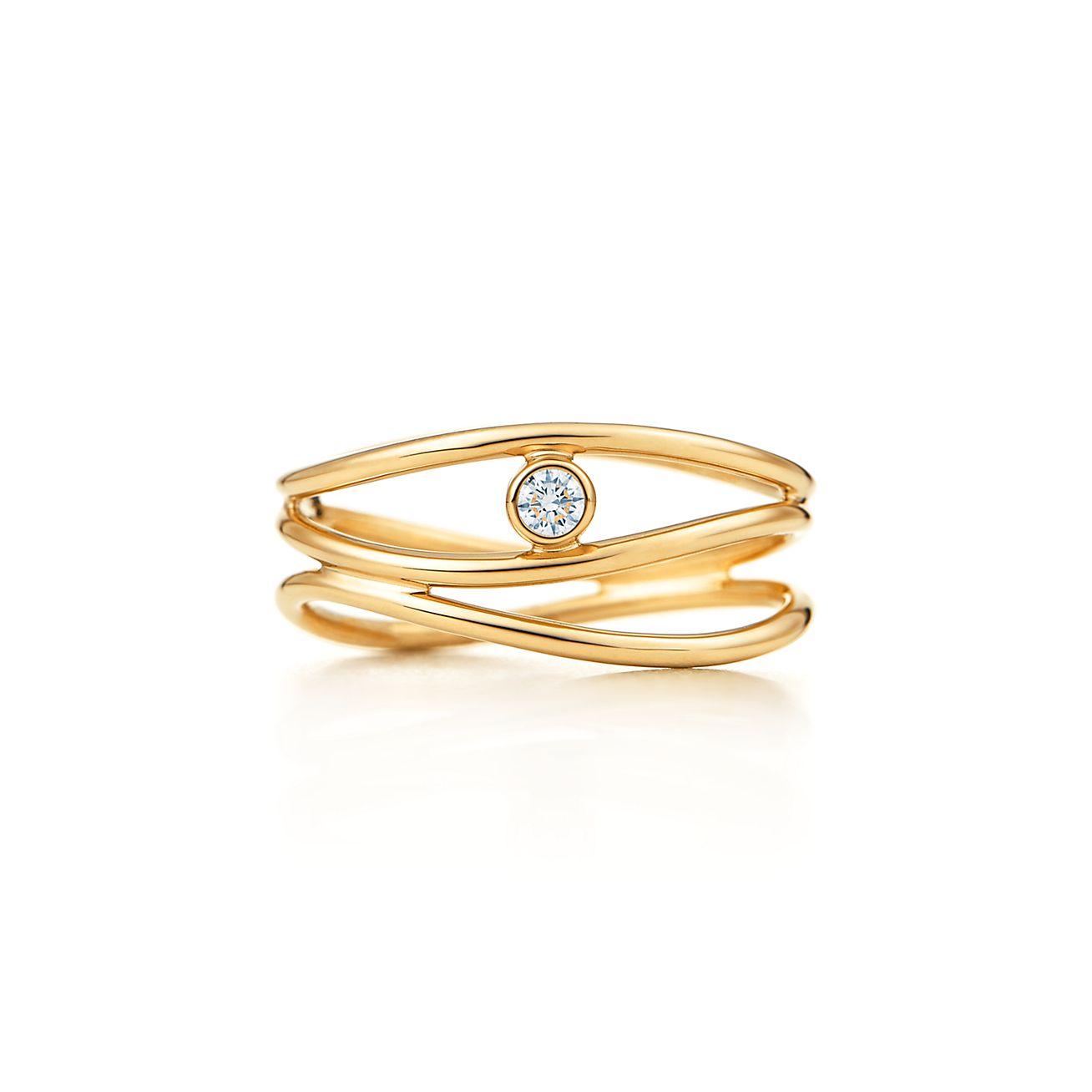 Elsa Peretti Wave single-row diamond ring in 18k gold - Size 5 1/2 Tiffany & Co.
