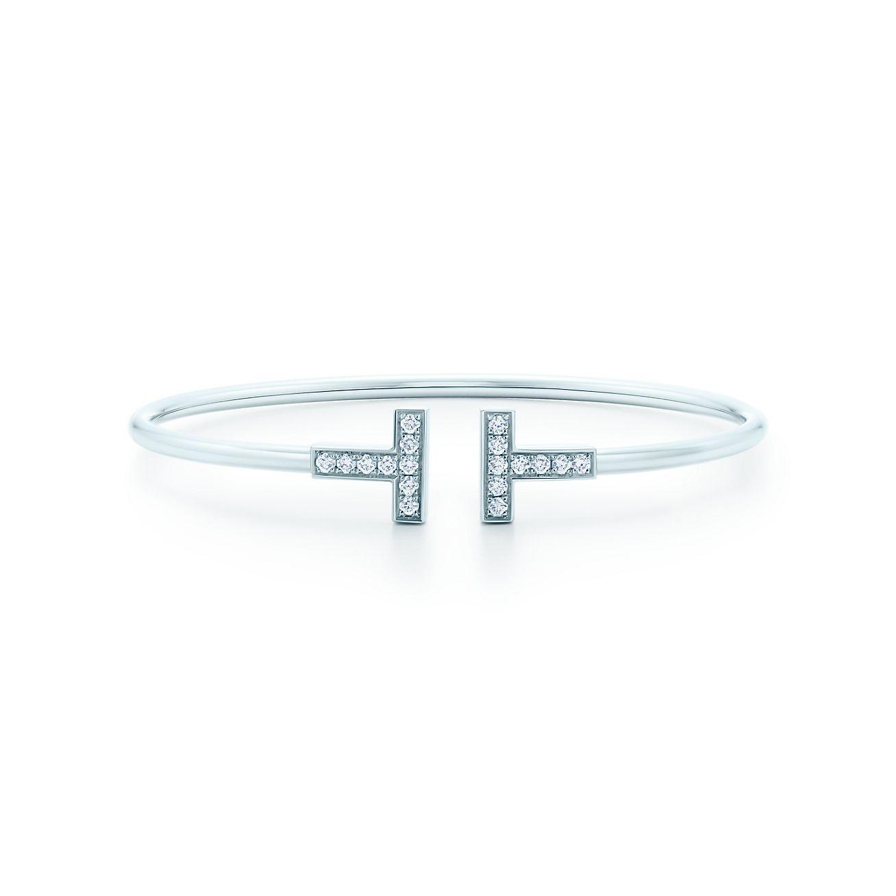 Tiffany T Wire Bracelet In 18k White Gold With Diamonds Medium