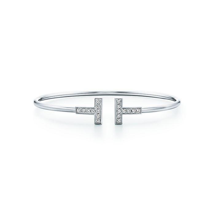 4fa816304 Tiffany T wire bracelet in 18k white gold with diamonds, medium ...
