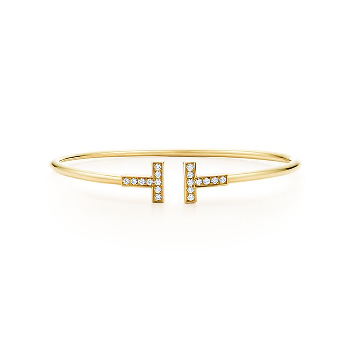 40f33ae93 Tiffany T wire bracelet in 18k gold with diamonds, medium. | Tiffany ...