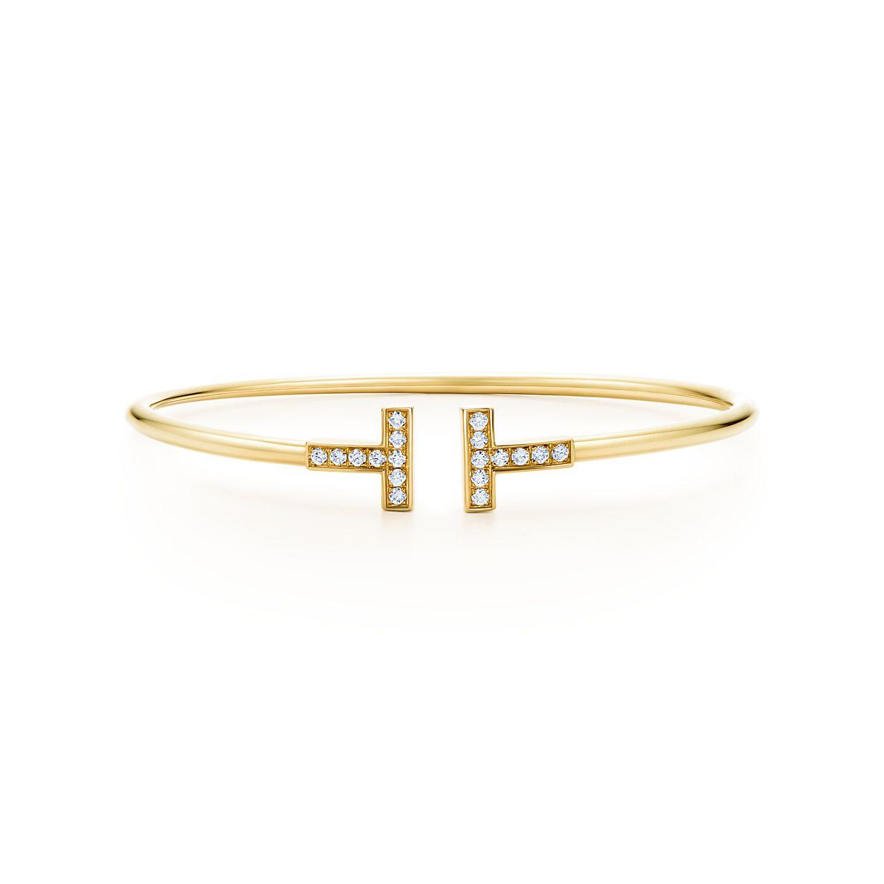 Tiffany T wire bracelet in 18k gold with diamonds, medium.   Tiffany ...