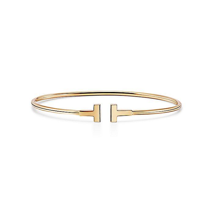 6d1f4006d Tiffany T narrow wire bracelet in 18k gold, medium. | Tiffany & Co.