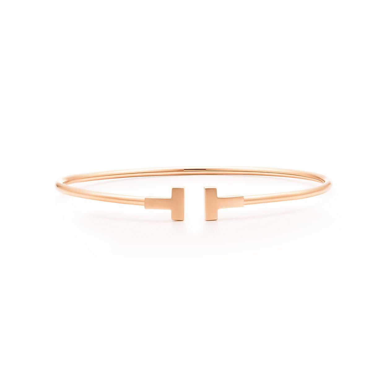 Tiffany T Gold Narrow Wire Bracelet