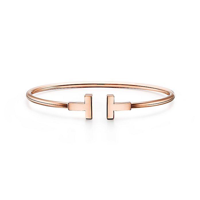 43a4ac56f Tiffany T narrow wire bracelet in 18k rose gold, small. | Tiffany & Co.