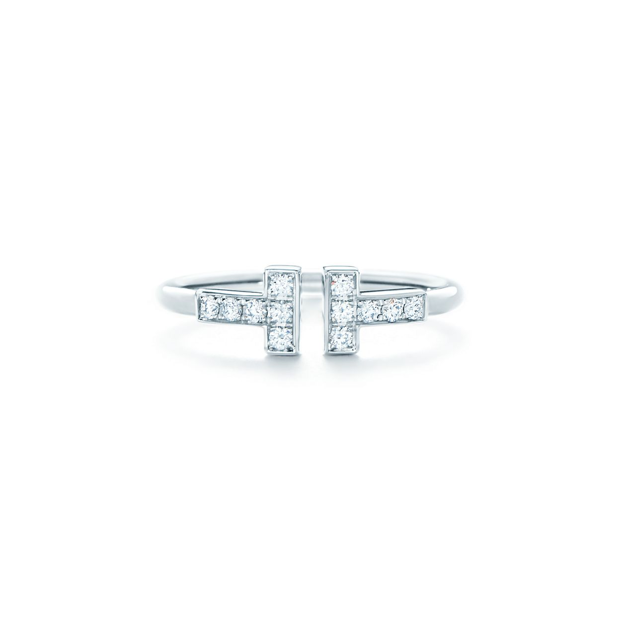 Tiffany T wire ring in 18k white gold with diamonds. | Tiffany & Co.