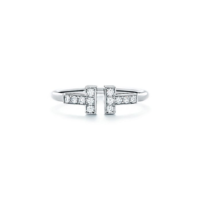 6e05caa2c Tiffany T wire ring in 18k white gold with diamonds. | Tiffany & Co.