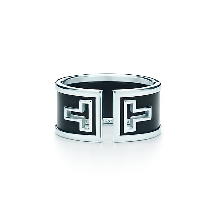 996928894 Tiffany T cutout ring in sterling silver with black ceramic ...