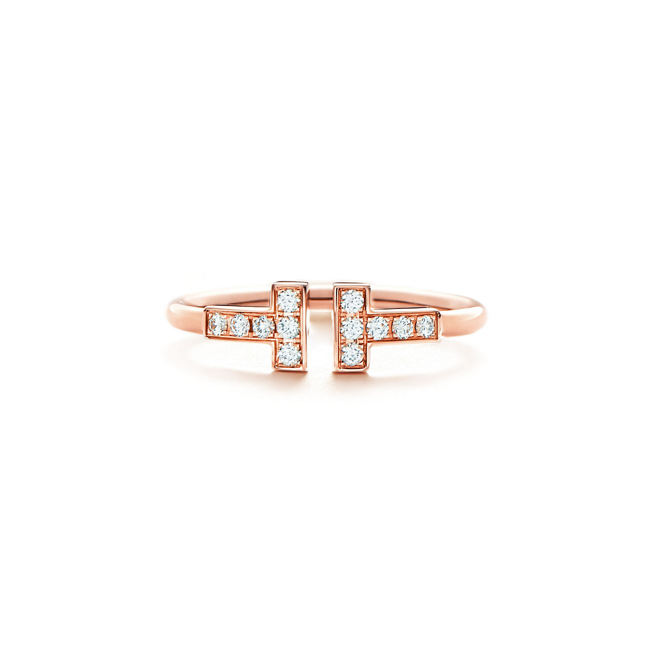 Tiffany T Wire Ring In 18k Rose Gold With Diamonds Tiffany Co