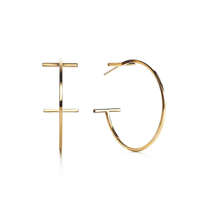 a2702fd9a Tiffany T wire hoop earrings in 18k gold, large. | Tiffany & Co.