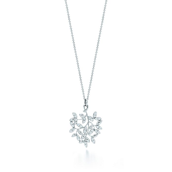 b7f278000 Paloma Picasso® Olive Leaf pendant in 18k white gold with diamonds ...