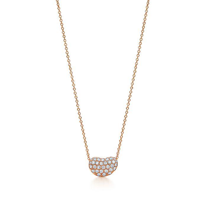 157fca8b743e2 Elsa Peretti® Bean Design® pendant in 18k rose gold with diamonds ...