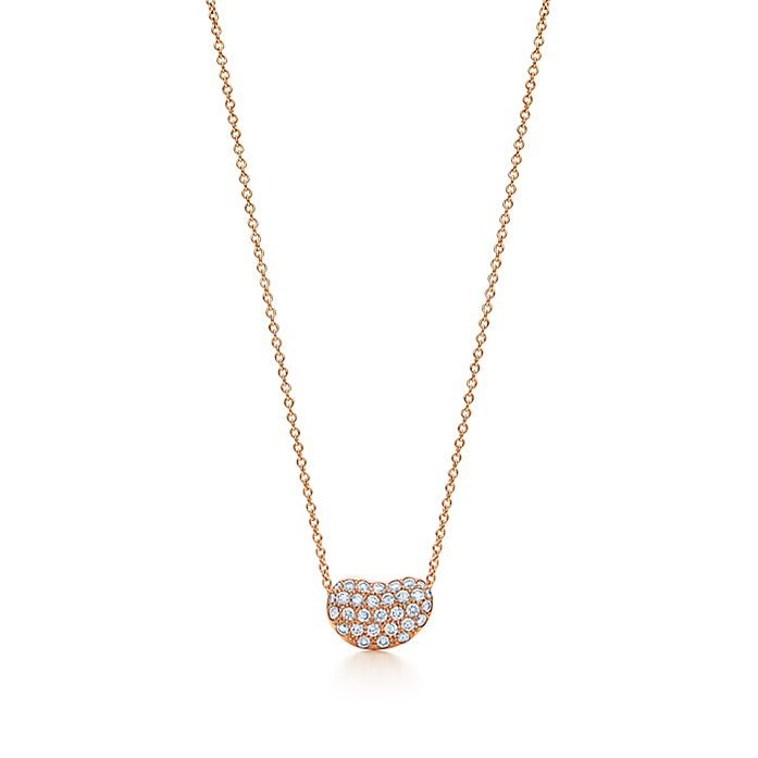 4535b8d0b Elsa Peretti Bean Design Pendant In 18k Rose Gold With Diamonds