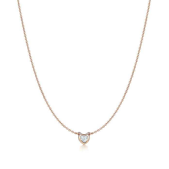 30b9d6ad852c4 Elsa Peretti® Diamonds by the Yard® heart necklace in 18k rose gold ...