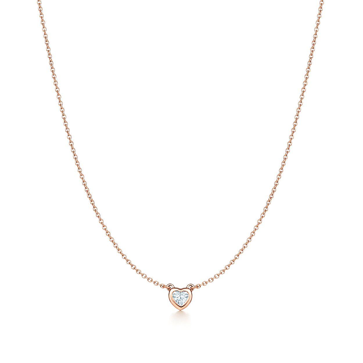 Elsa peretti diamonds by the yard heart necklace in 18k rose gold elsa perettidiamonds by the yard heart necklace aloadofball Choice Image