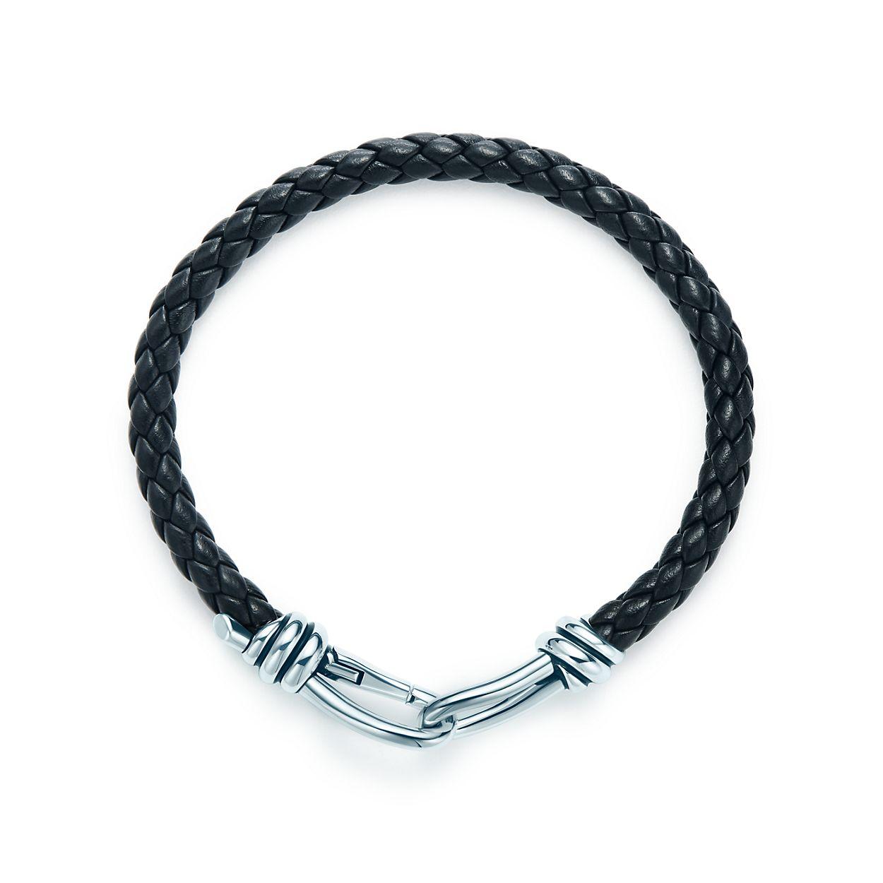 Paloma Pico Knot Single Braid Bracelet Of Black Leather And Silver Medium Tiffany Co