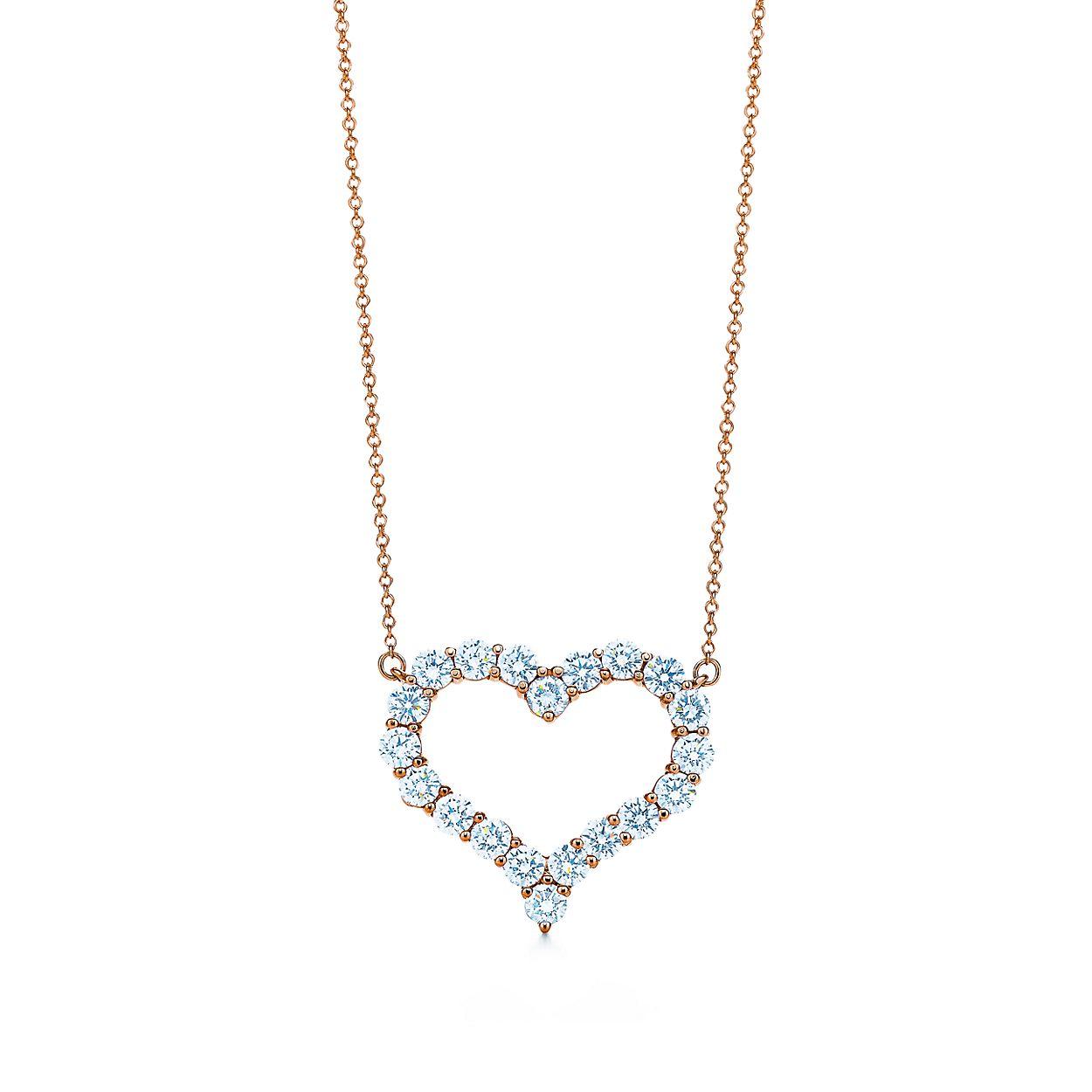 Pendentif en or rose 18 carats et diamants, Tiffany Hearts™. Large ... 76544728545f