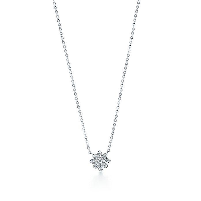 7c5c4cab3 Tiffany Enchant™ flower pendant in platinum with diamonds.   Tiffany ...