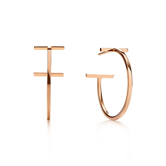 a73bf3a06 Tiffany T wire hoop earrings in 18k rose gold, medium. | Tiffany & Co.
