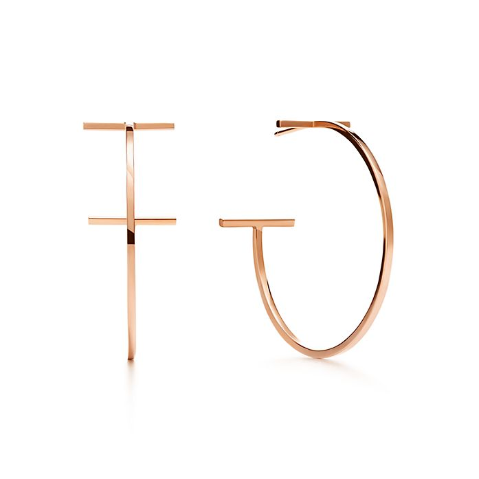 1e3c8a385 Tiffany T wire hoop earrings in 18k rose gold, large. | Tiffany & Co.