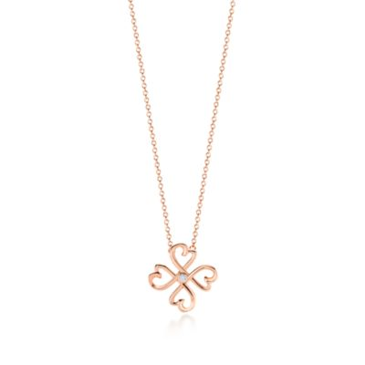 Paloma Picasso Loving Heart pendant in 18k rose gold with a diamond