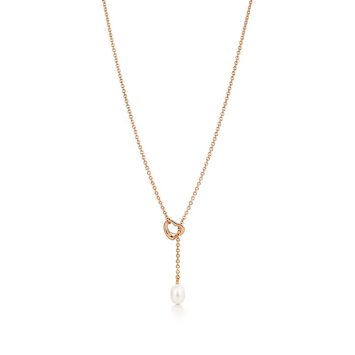 427cda1a3 Elsa Peretti® Open Heart lariat in 18k rose gold with a freshwater ...