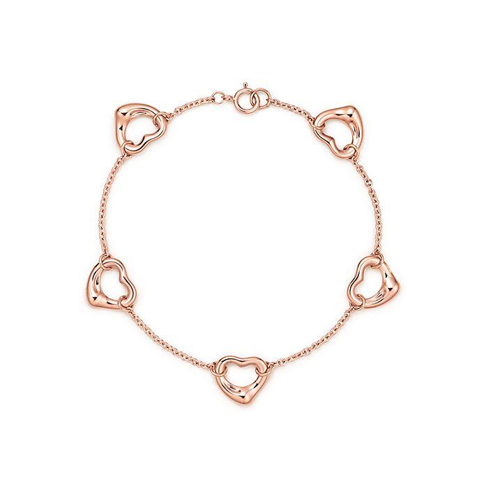 15f327638 Elsa Peretti® Open Heart bracelet in 18k rose gold, medium ...