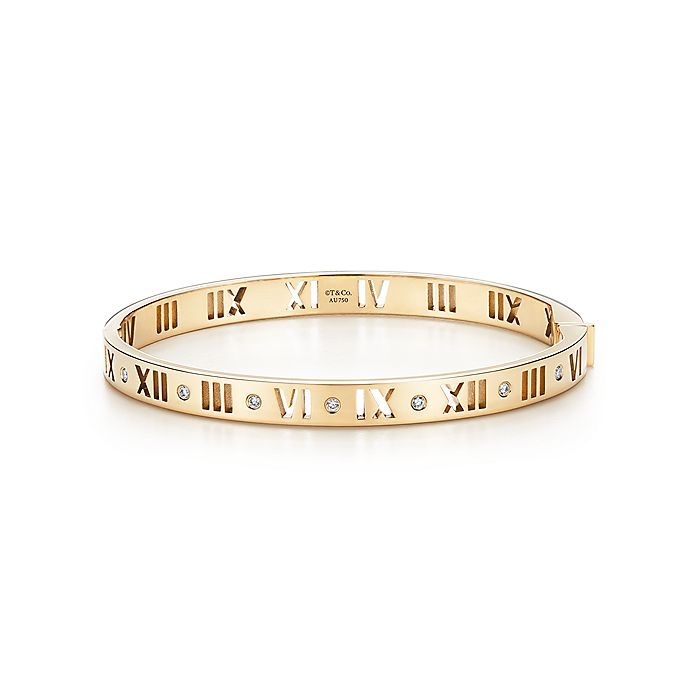 8040e2ccc Atlas® narrow pierced hinged bangle in 18k gold with diamonds ...